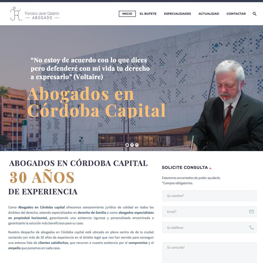Página web para el bufete de abogados de Fco. Javier Calderón
