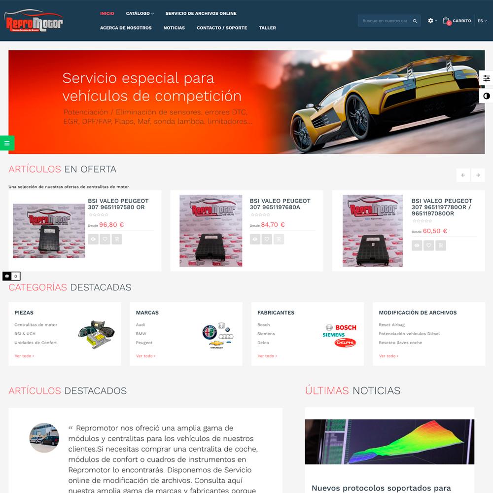 Páginas web para empresas del motor