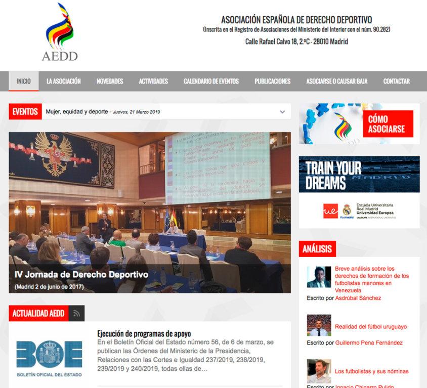 Web Asociacion Española Derecho Deportivo