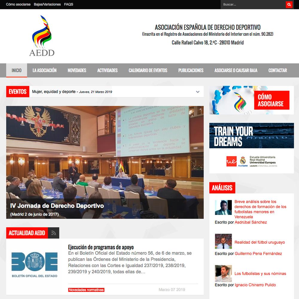 Página web para la Asociacion Española de Derecho Deportivo
