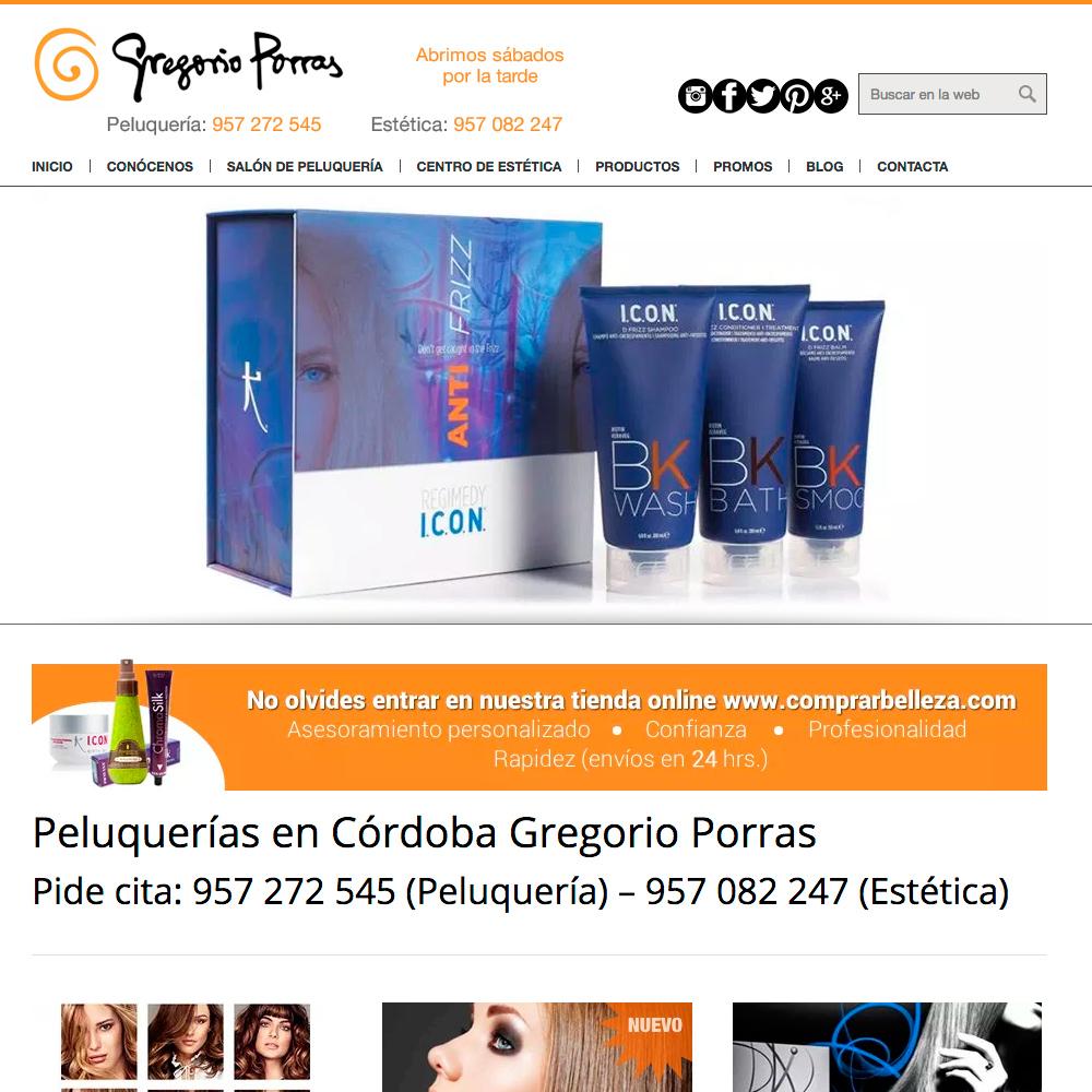 Optimización y mantenimiento de la página web del salón de peluquería y estética Gregorio Porras en Córdoba