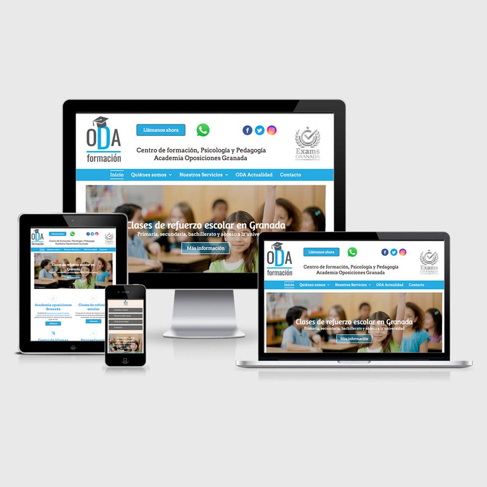 Rediseño y optimización SEO de la página web de la academia Oda Formación en Granada