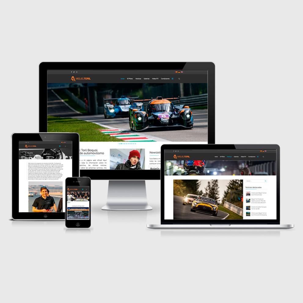 Diseño de la página web del piloto de coches Miguel Toril