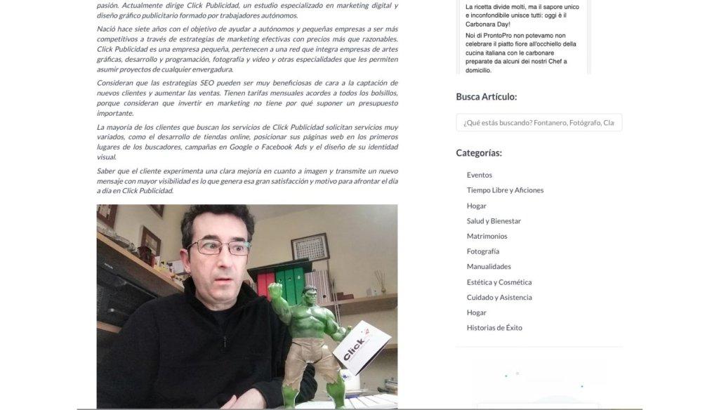 Entrevista en el portal de profesionales Prontopro